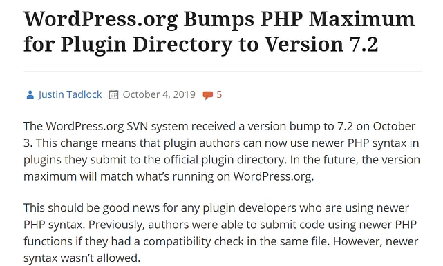 WordPress.org Bumps PHP Maximum for Plugin Directory to Version 7.2