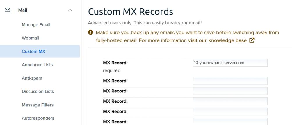 Setting up MX records to create a professional email address