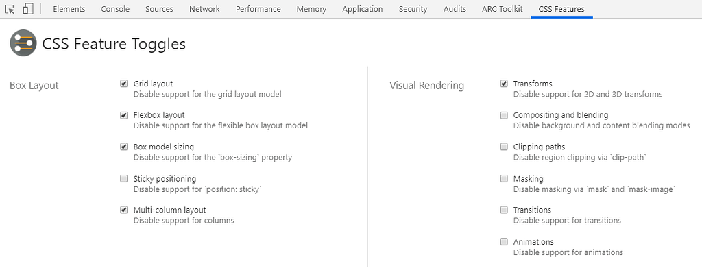 CSS Features Available to Toggle