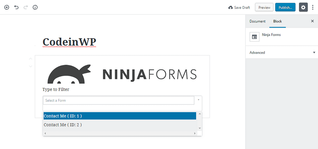 ninja forms block