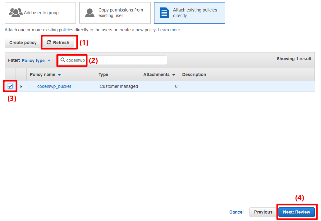 search for iam user policy