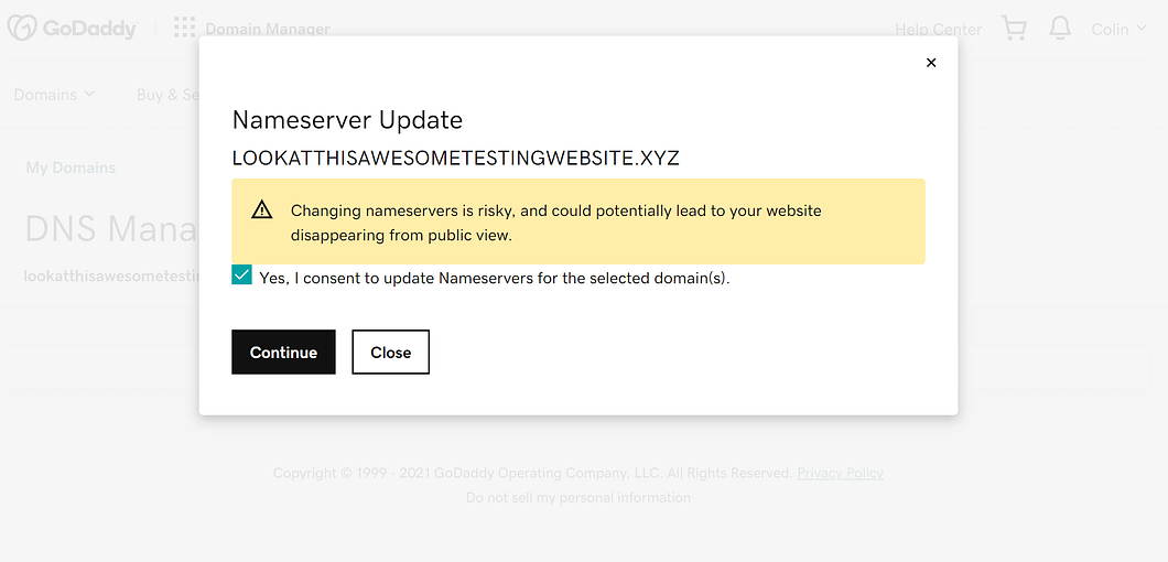 Confirm the warning prompt