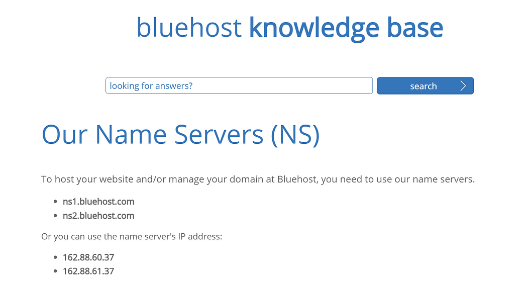 Example of nameservers at Bluehost