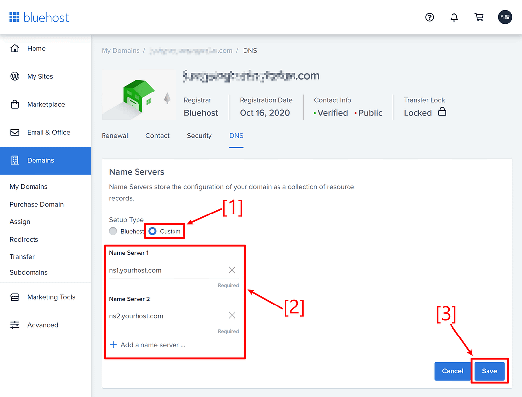 How to change nameservers: Bluehost