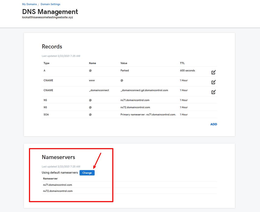 How to change nameservers: GoDaddy