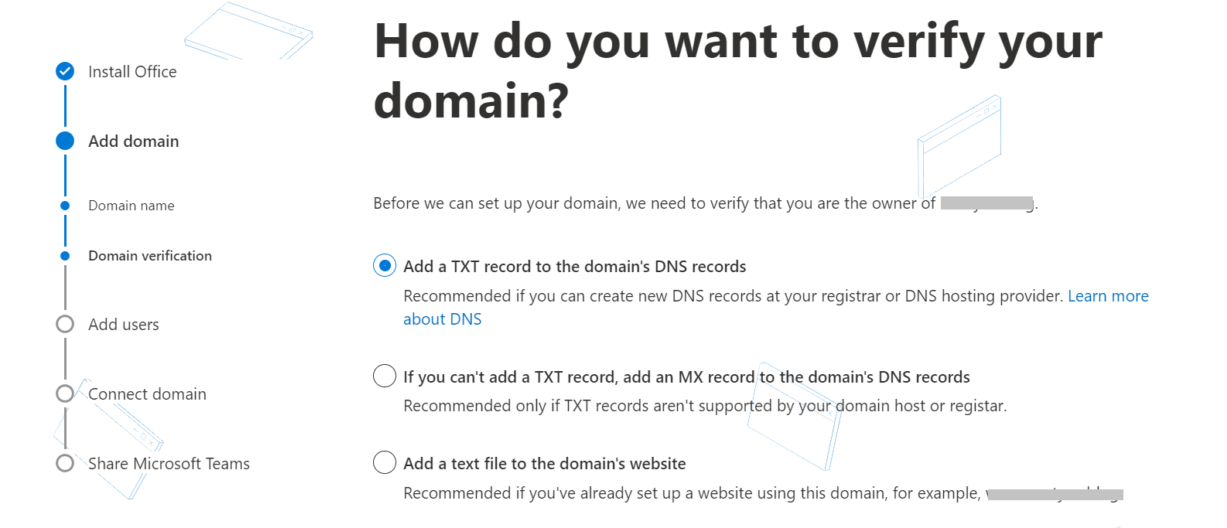 Verifying domain with Office 365