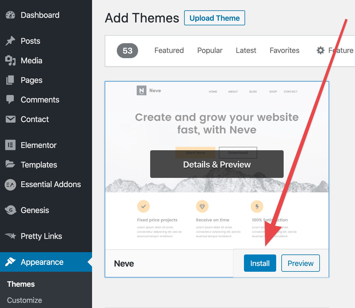 How to make a WordPress website: install a theme