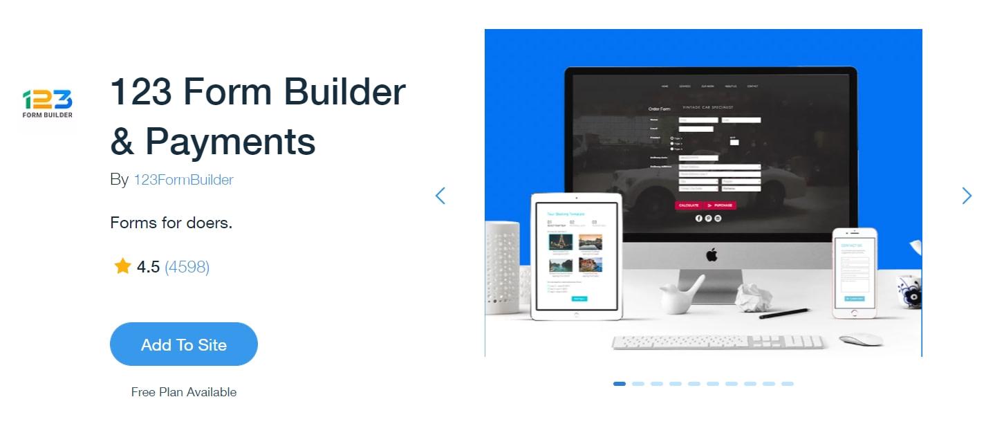 Best Wix apps: 123 Form Builder
