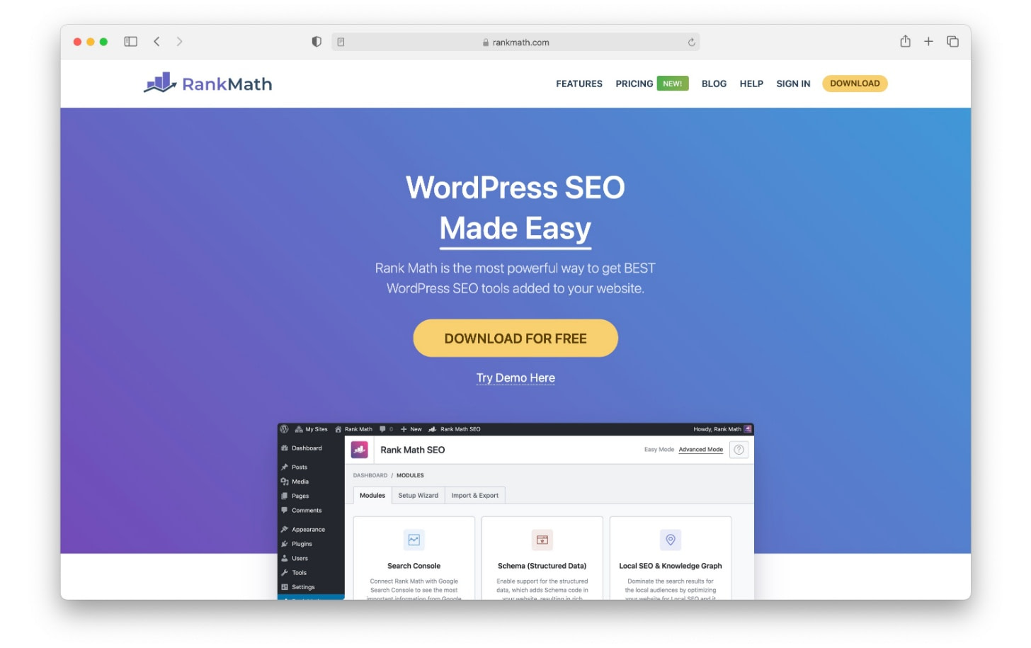 SEO tools like Rank Math have a variety of features to help WordPress SEO