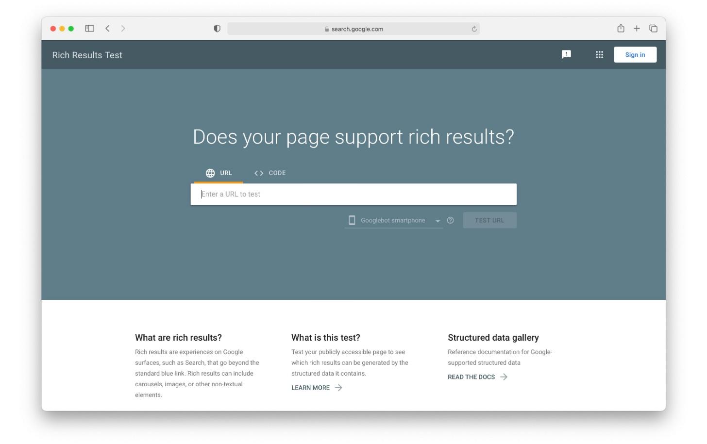Google Rich Results Test