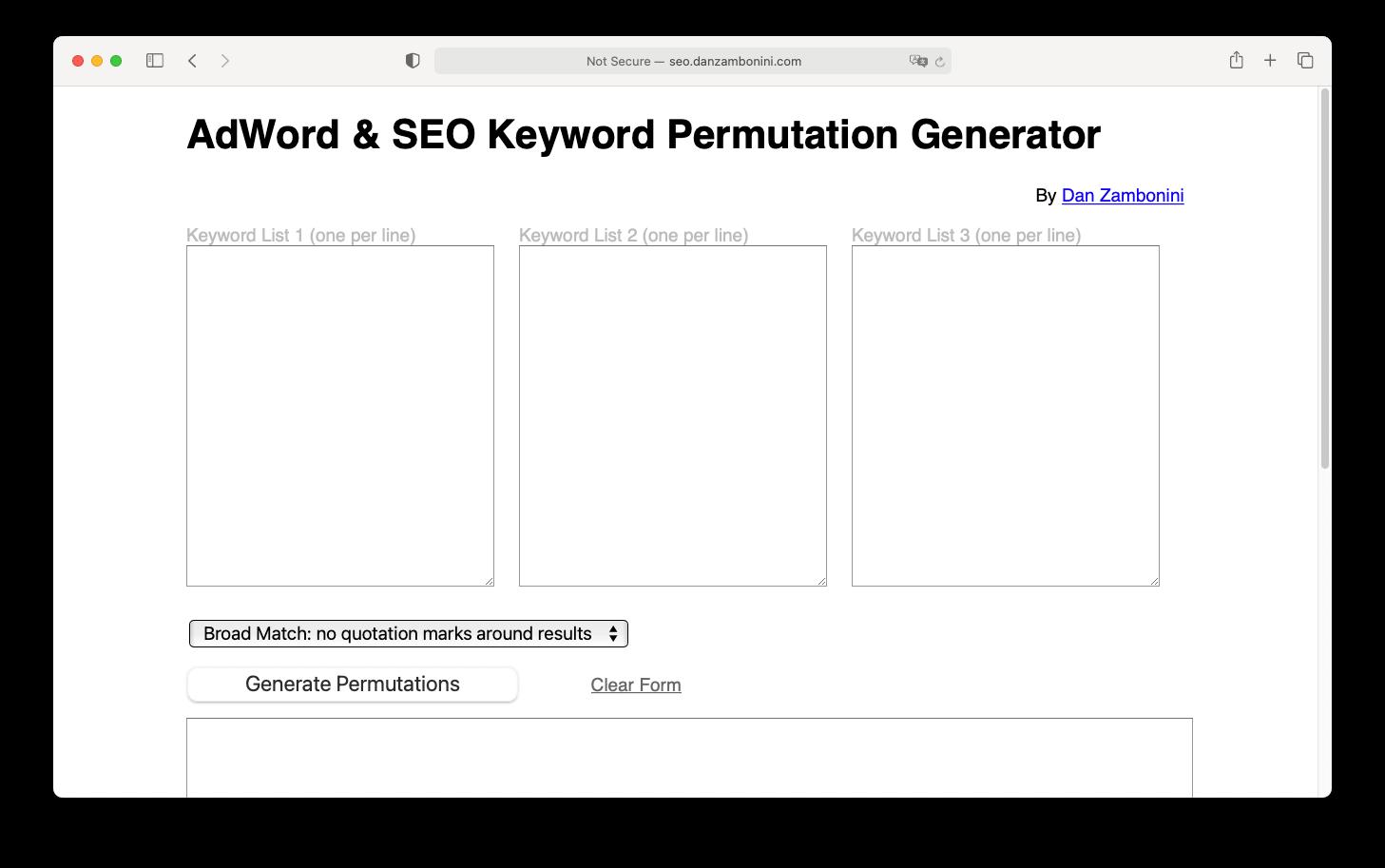 Adword and SEO keyword permutation generator