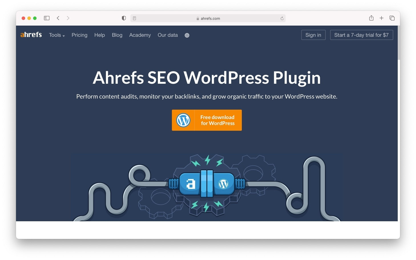 Ahrefs' stable of SEO tools includes a WordPress plugin