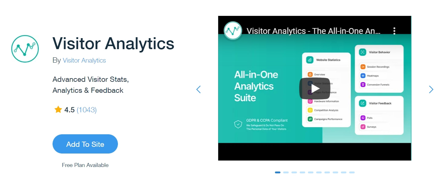 Best Wix apps: Visitor Analytics