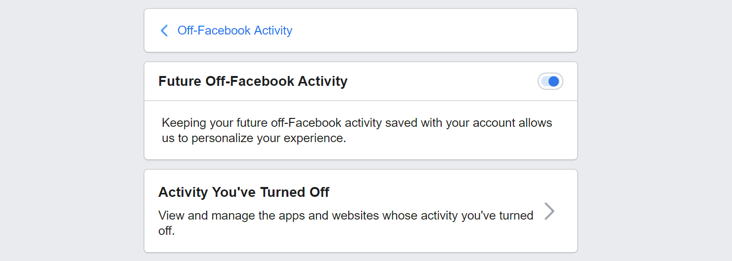 Disable future Facebook tracking