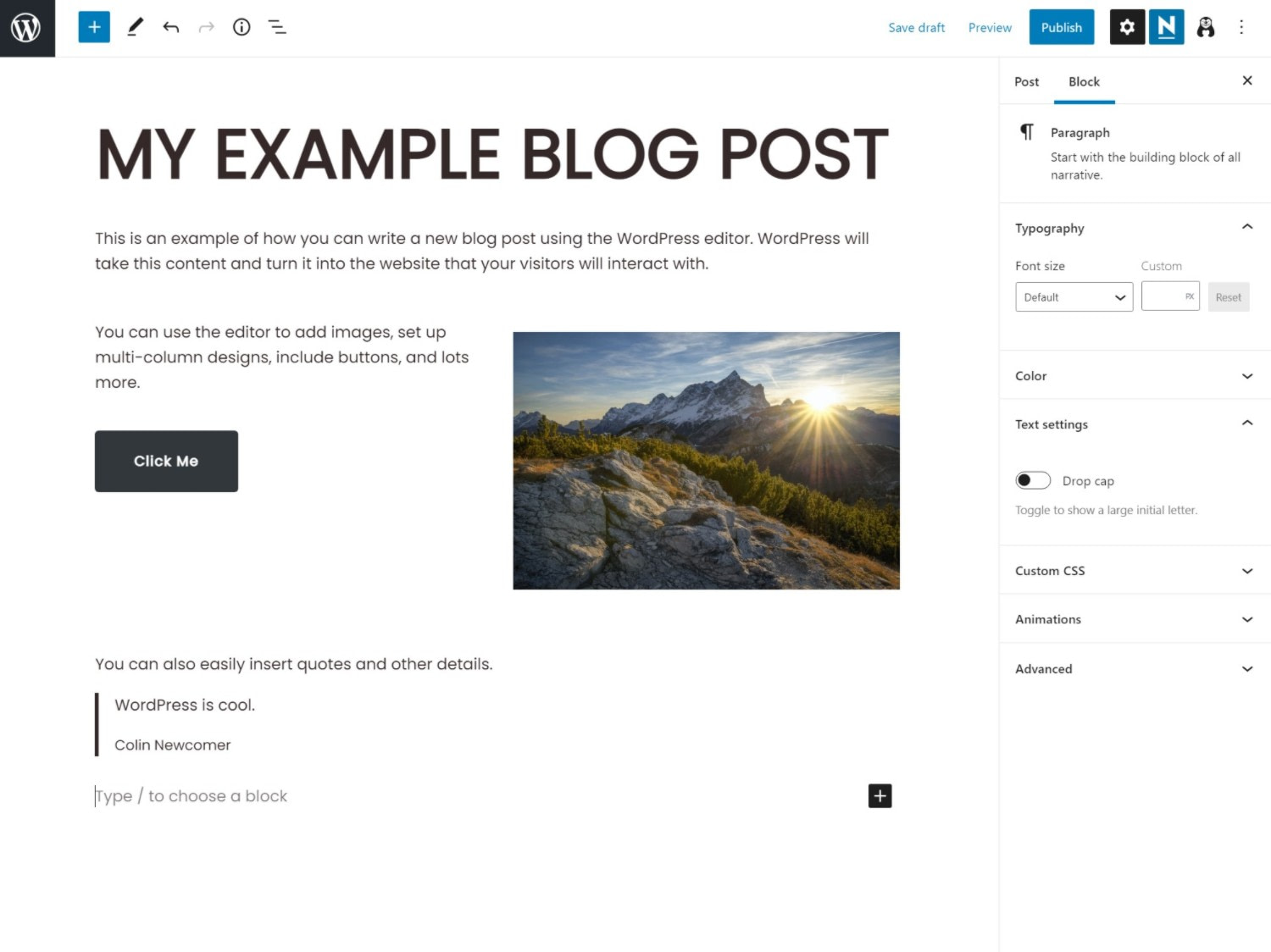 Creating a post on the WordPress backend