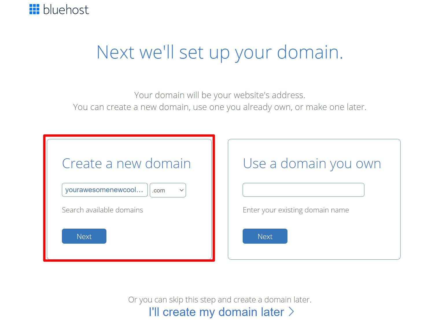 Choose free domain name from Bluehost
