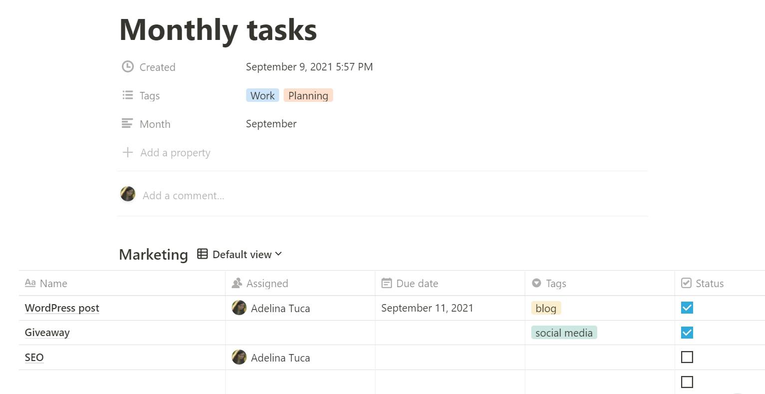 add tasks in Notion app