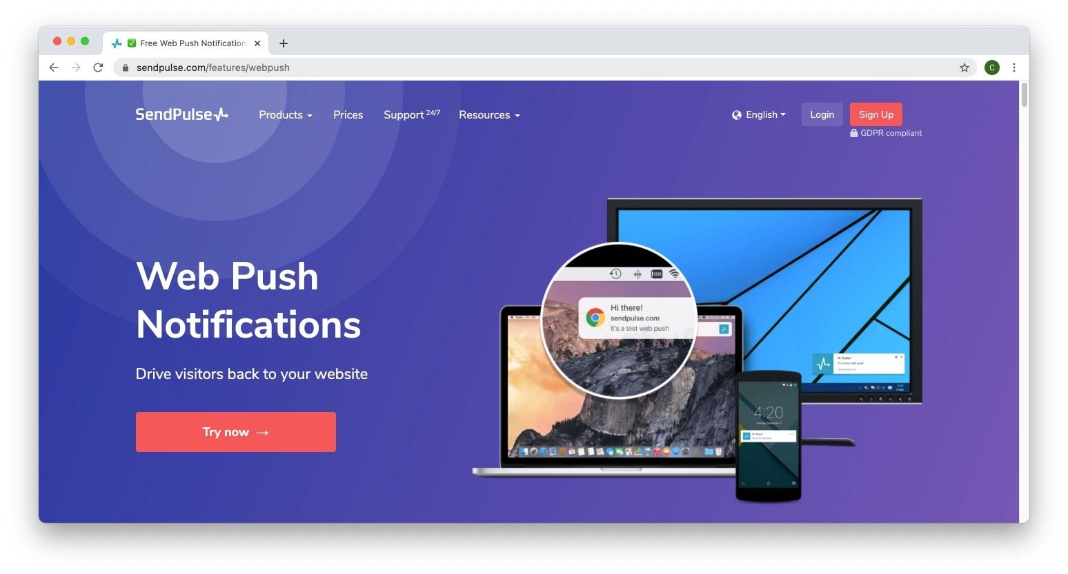 Sendpulse web push notifications