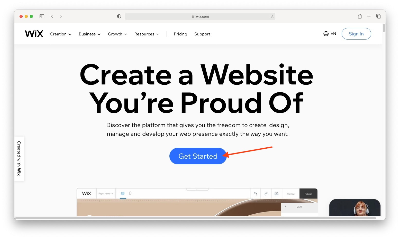 This Wix tutorial starts with the Get Started page
