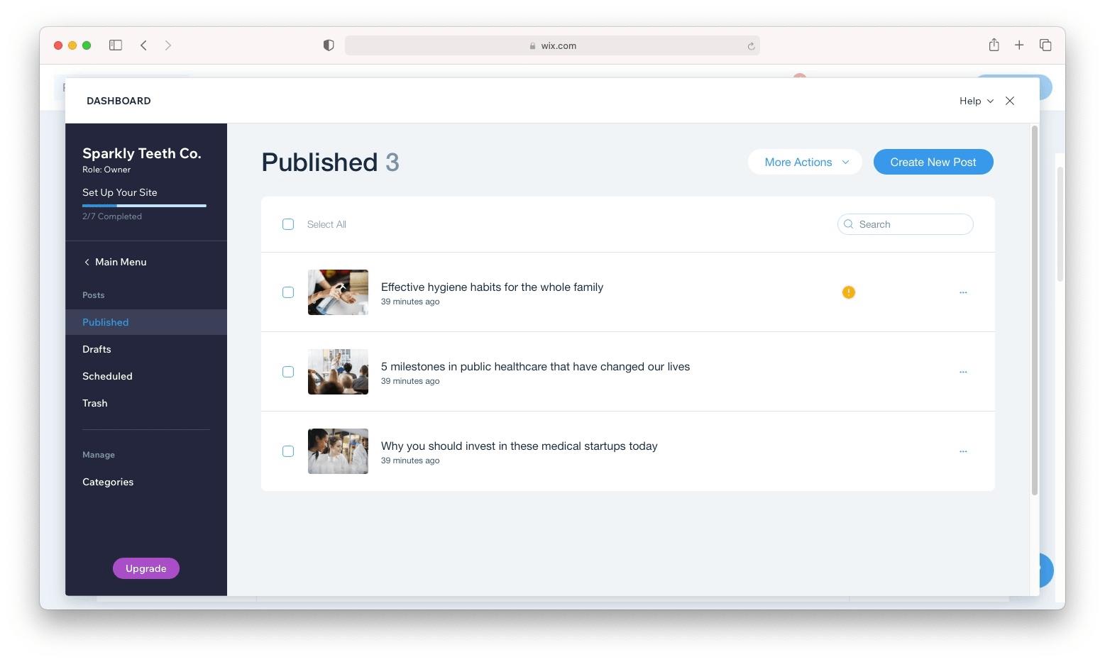 The Wix blog management dashboard
