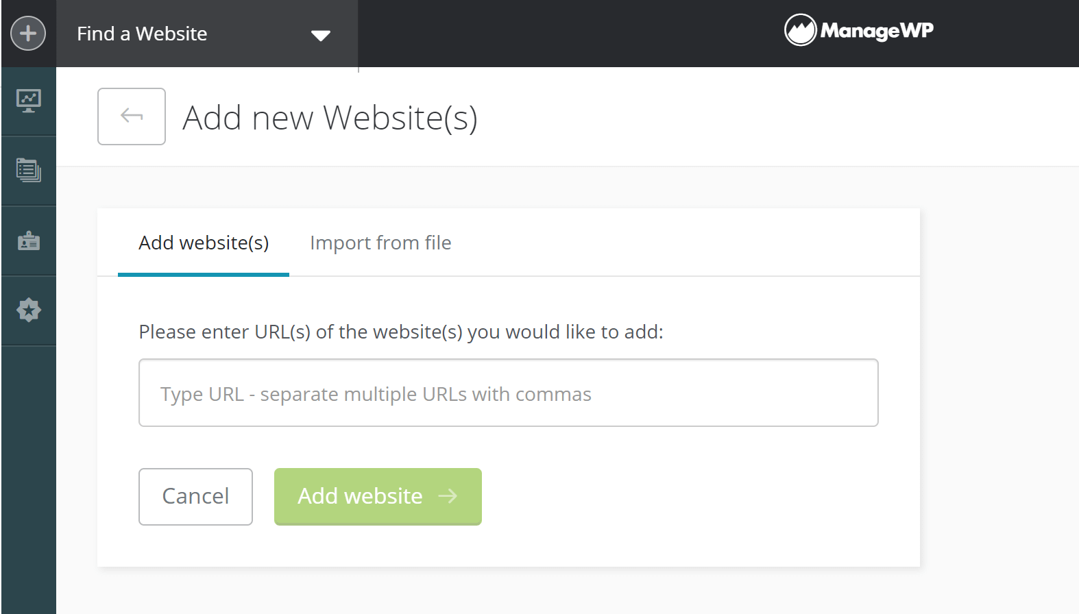 Add a website to ManageWP