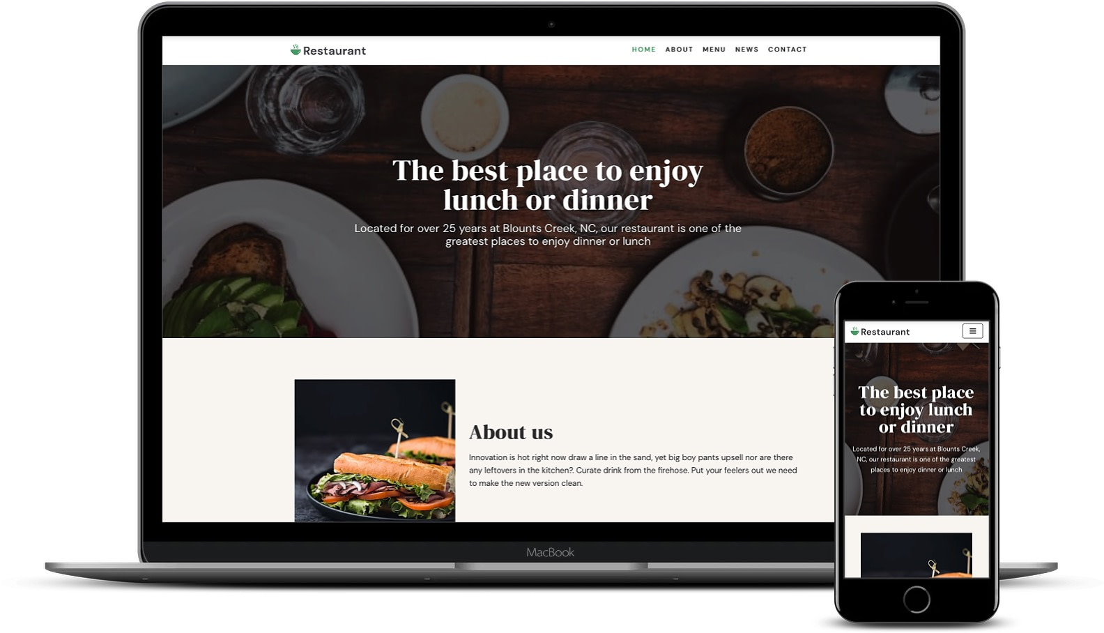 Learn how to design a website using this restaurant theme as a base