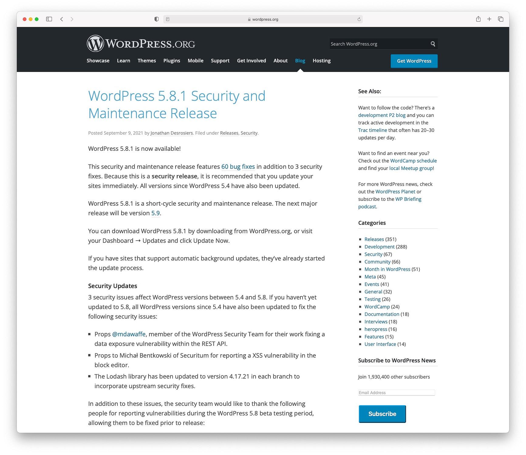 WordPress security update