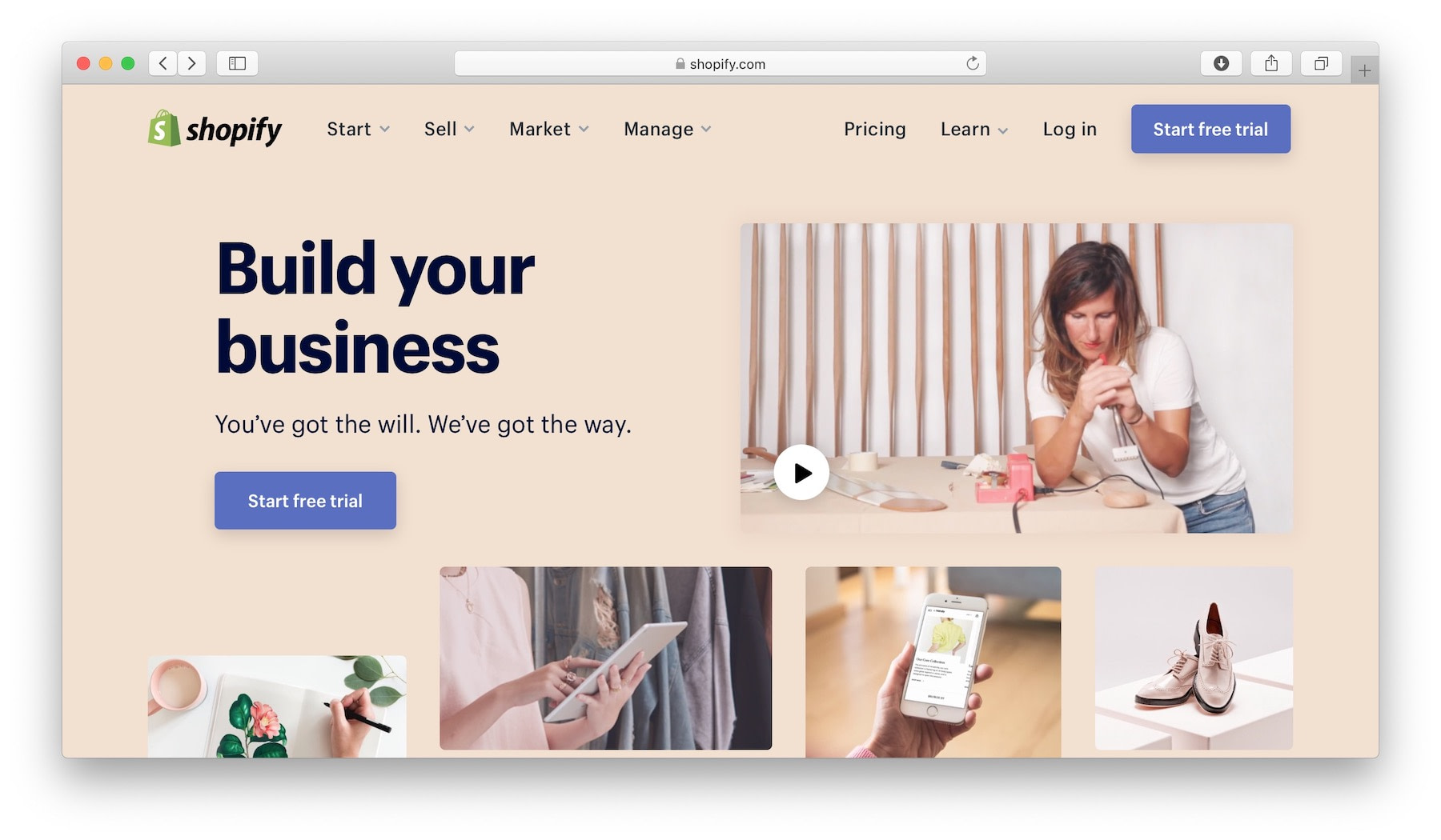 Shopify - the best mobile website builder if you need an e-commerce store