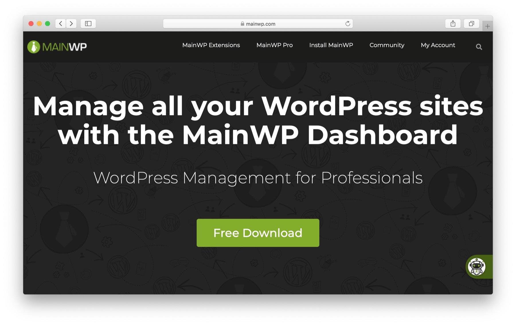 manage multiple WordPress websites: mainwp