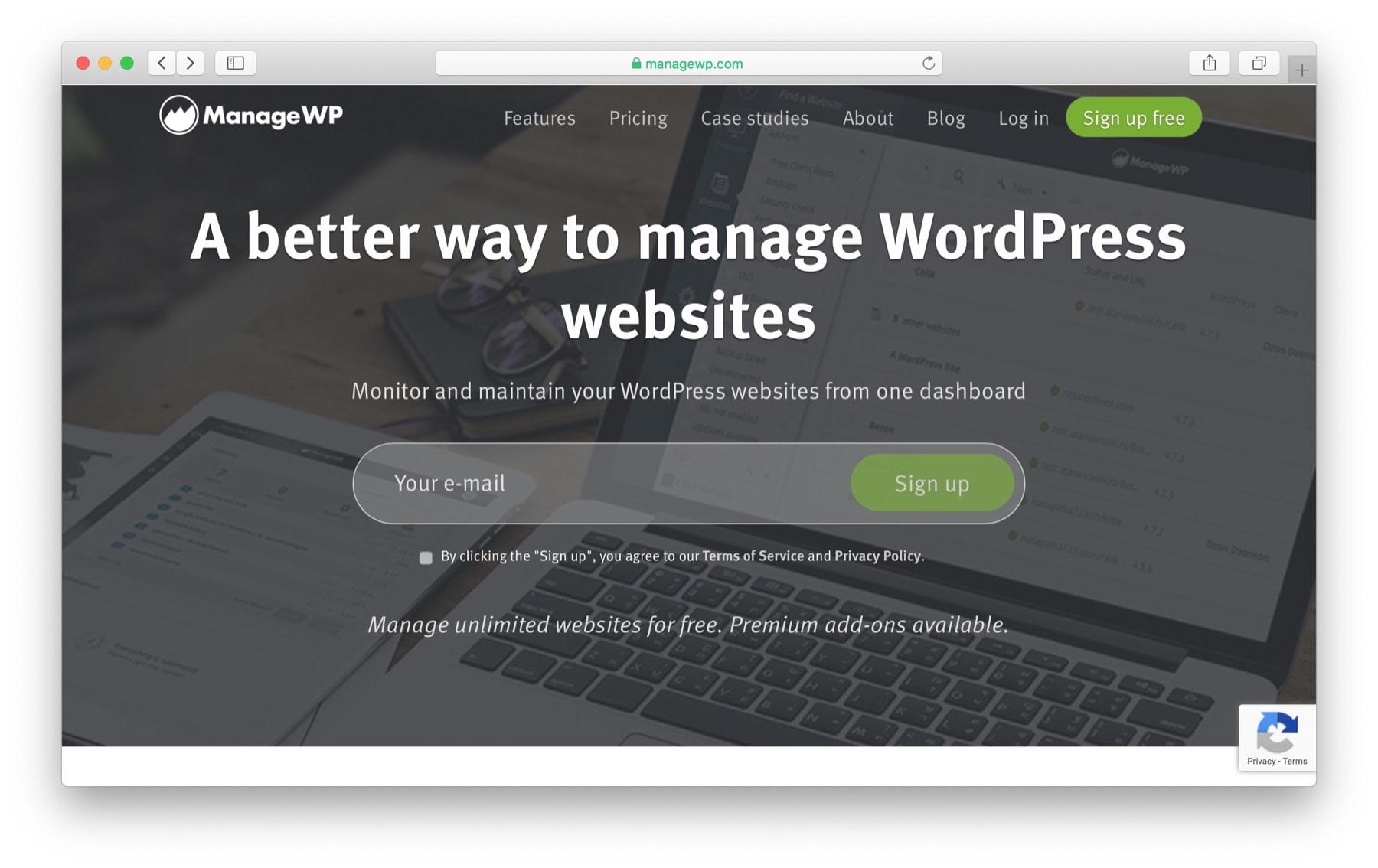 manage multiple WordPress websites: managewp