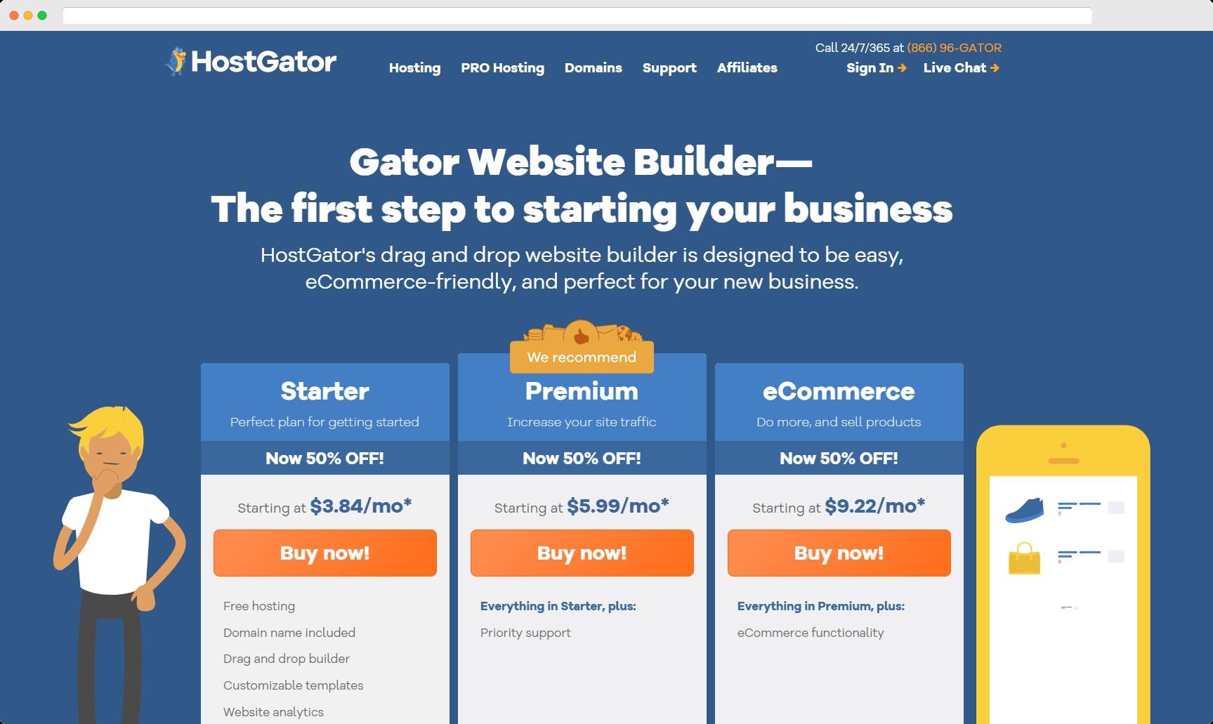 cheapest website builder: gator website builder