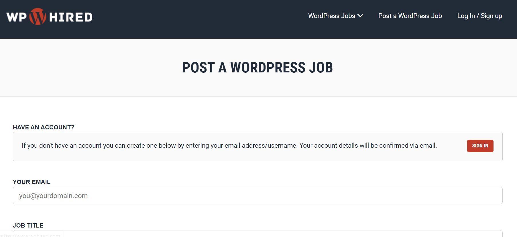 WpHired WordPress jobs