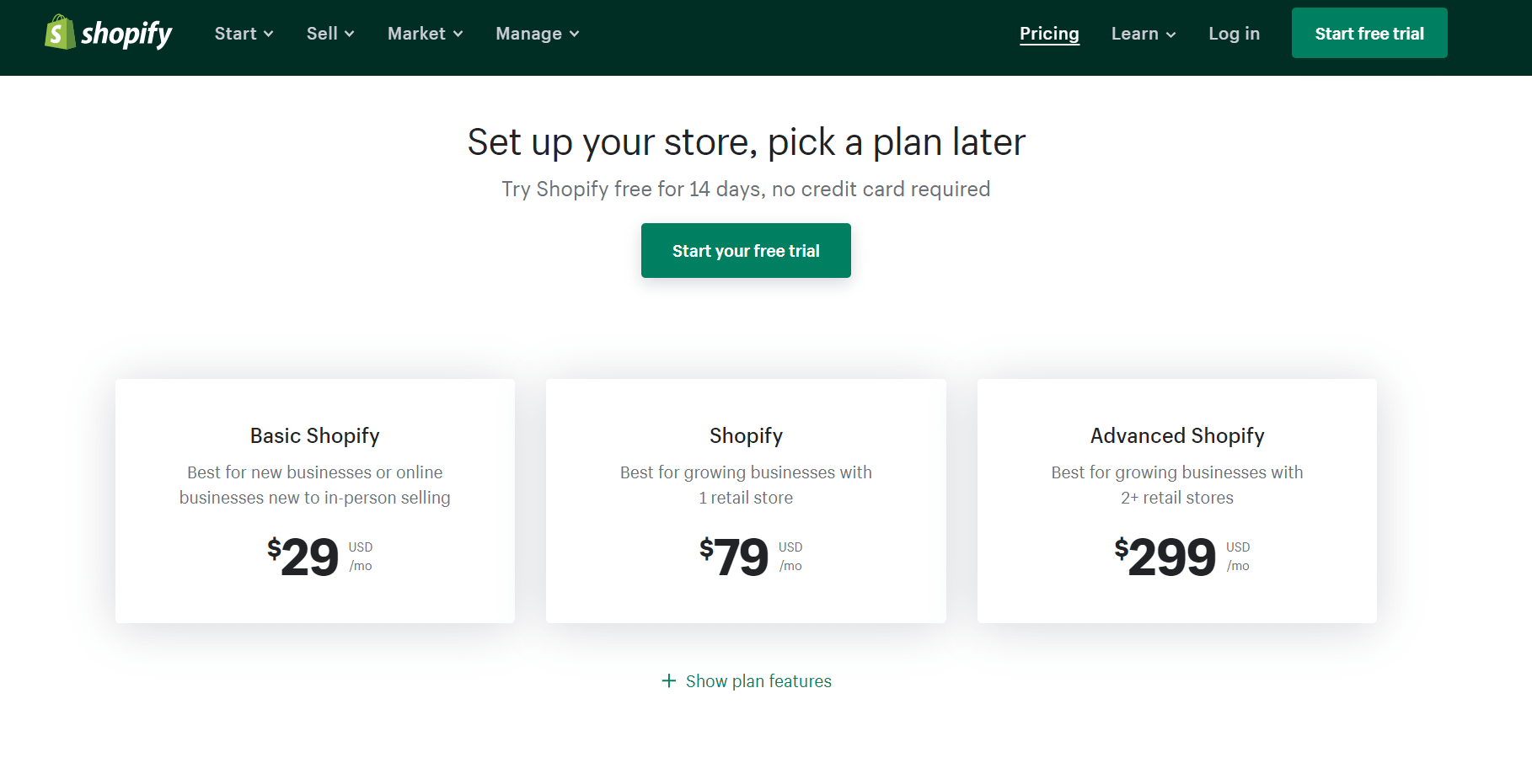 Squarespace pricing - Shopify pricing