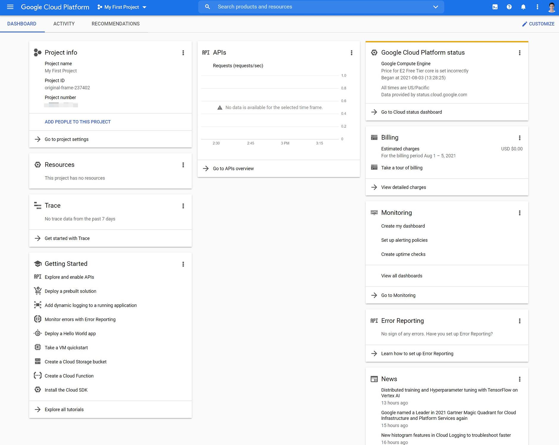 Google Cloud dashboard vs AWS