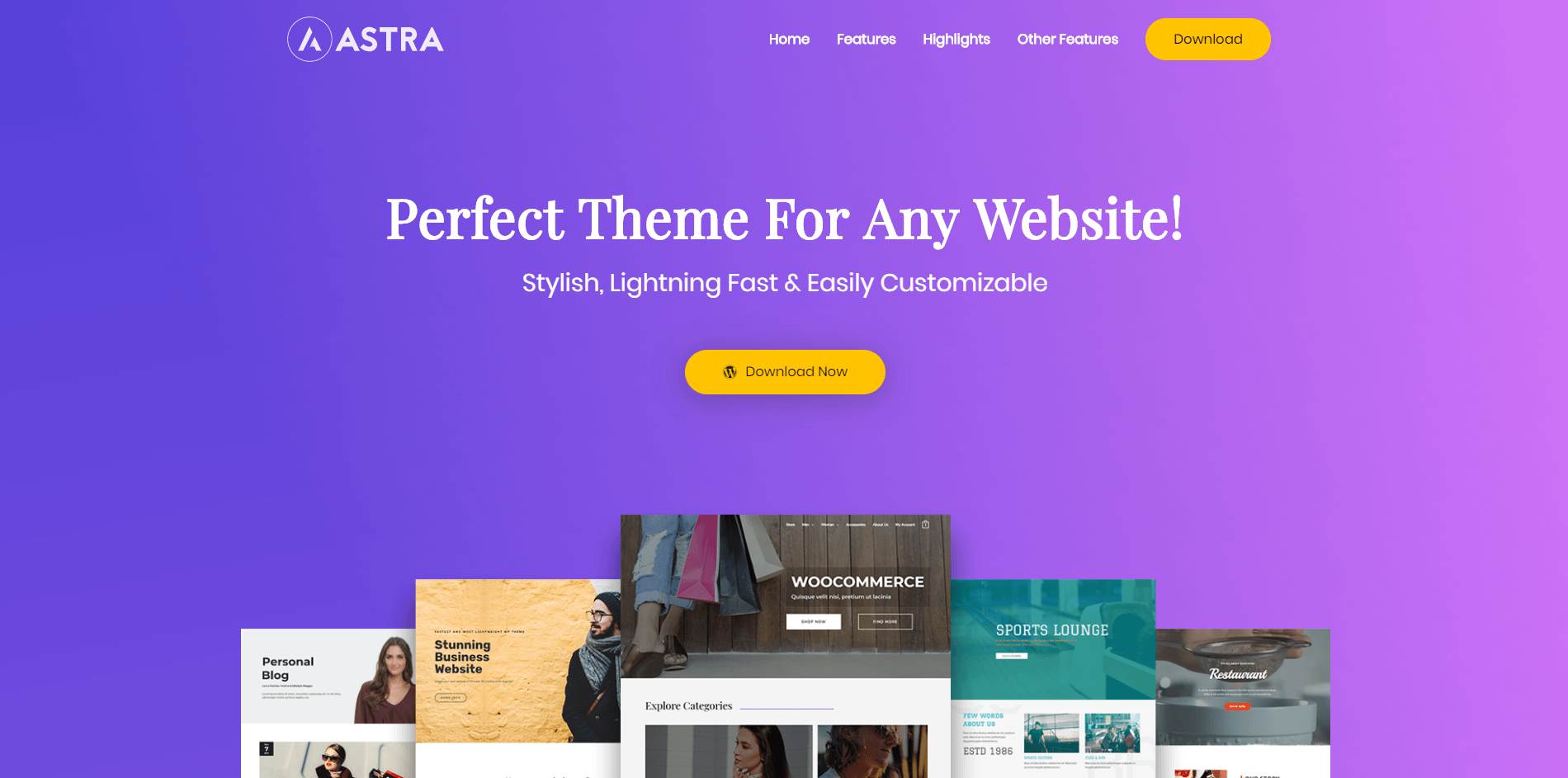The Product Landing Page demo for Astra.
