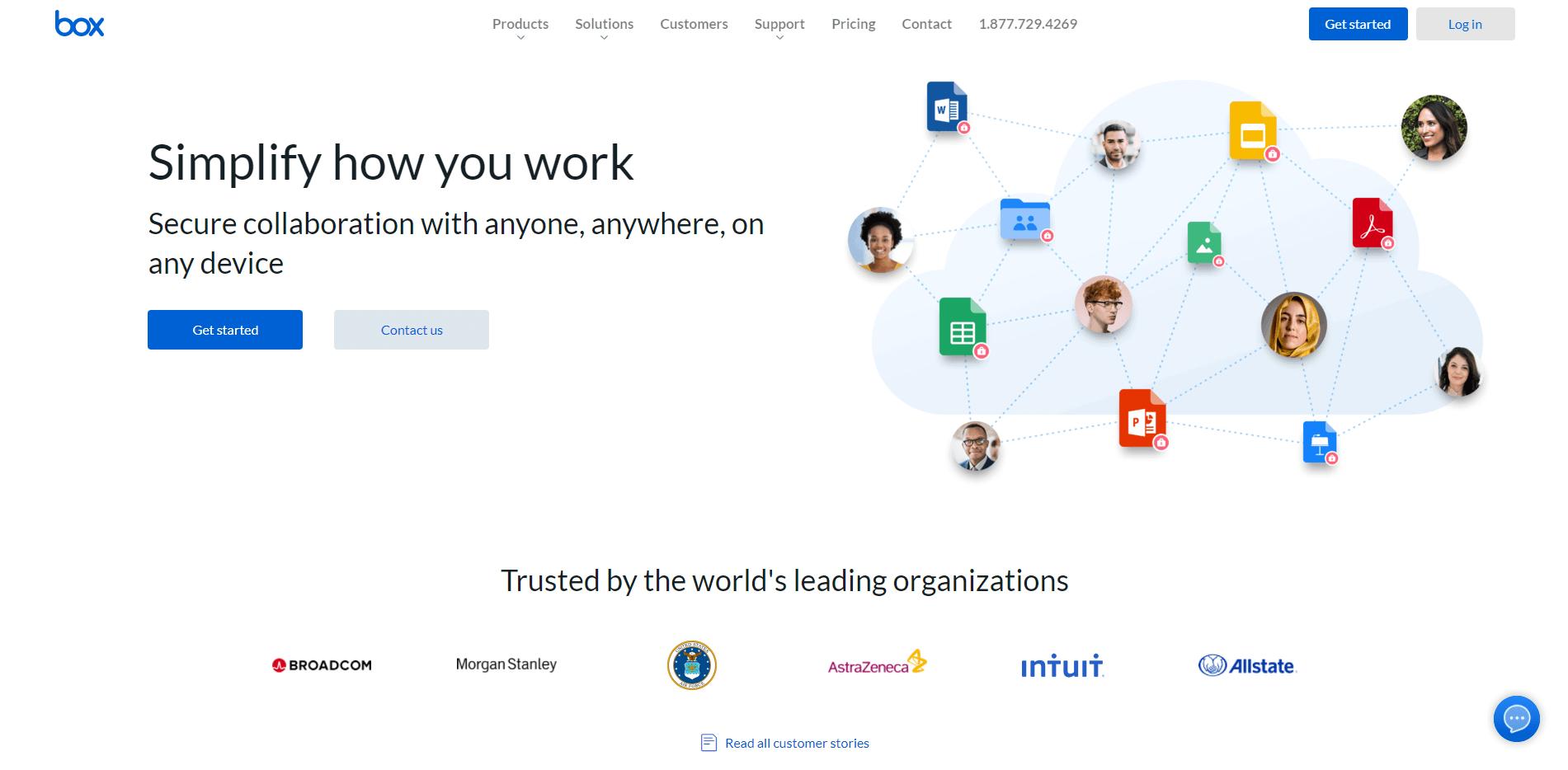 The Box cloud storage homepage.