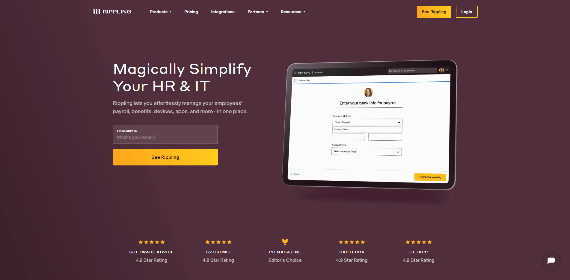 The homepage for the Rippling payment processing software.