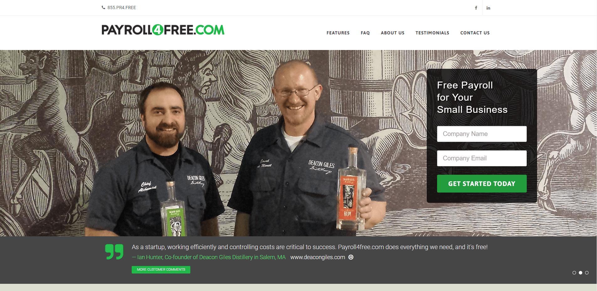 Payroll4Free's homepage.