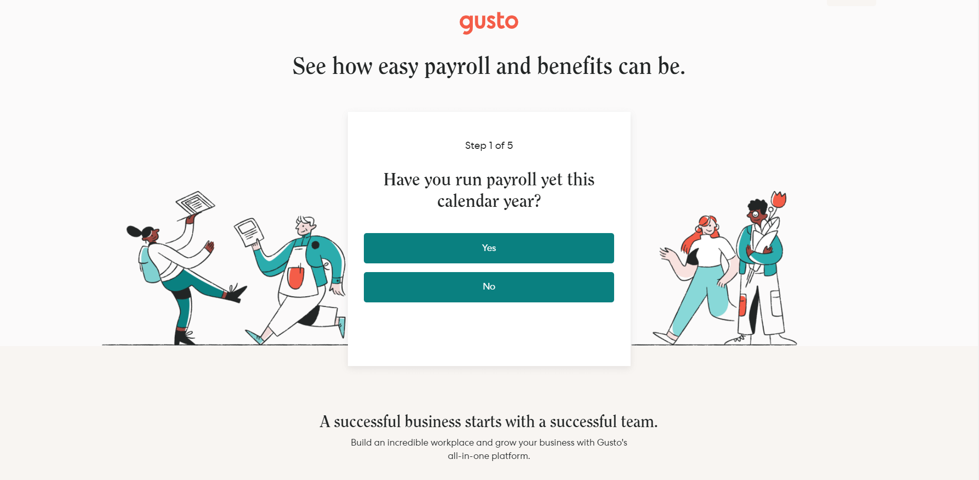 The payment processing technology Gusto's homepage.