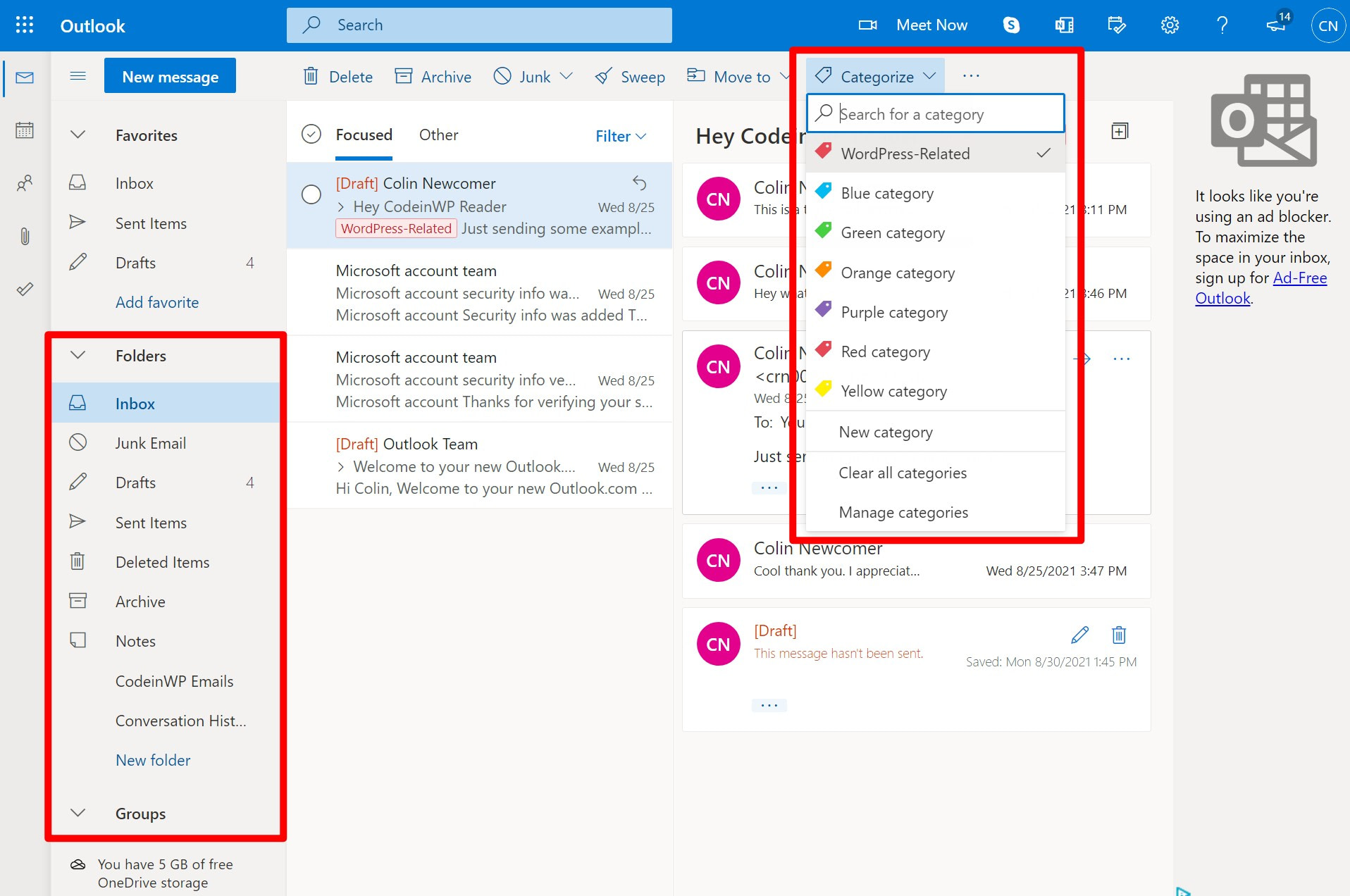 Outlook categories and folders