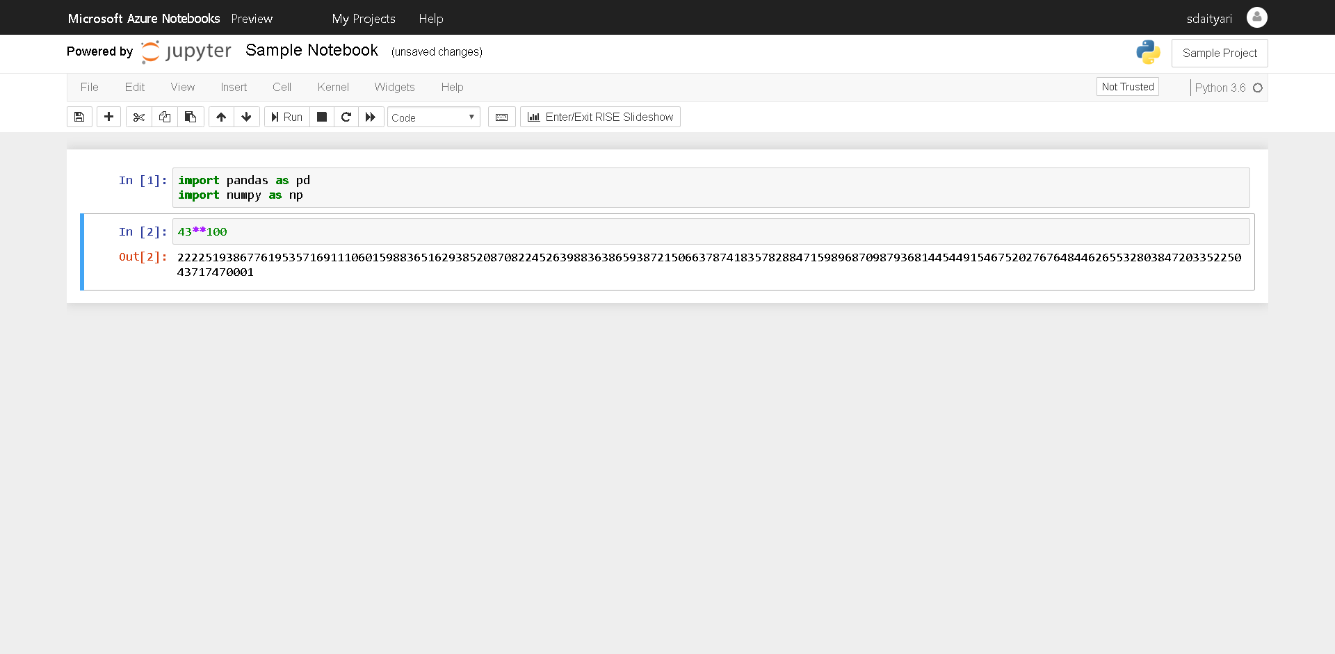 Jupyter Notebook on Azure