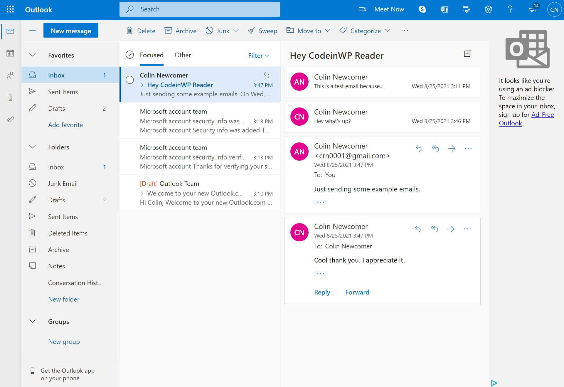 Outlook email viewer