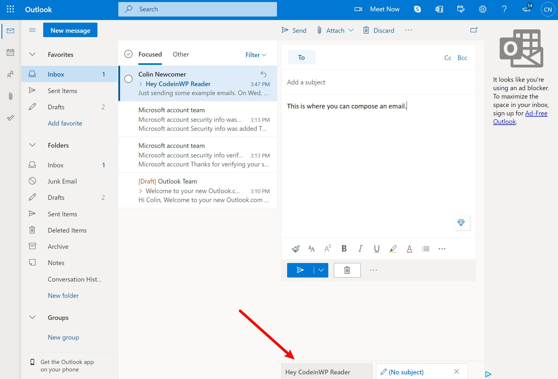 Outlook compose email