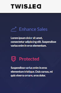 Twisted - One page website template on mobile