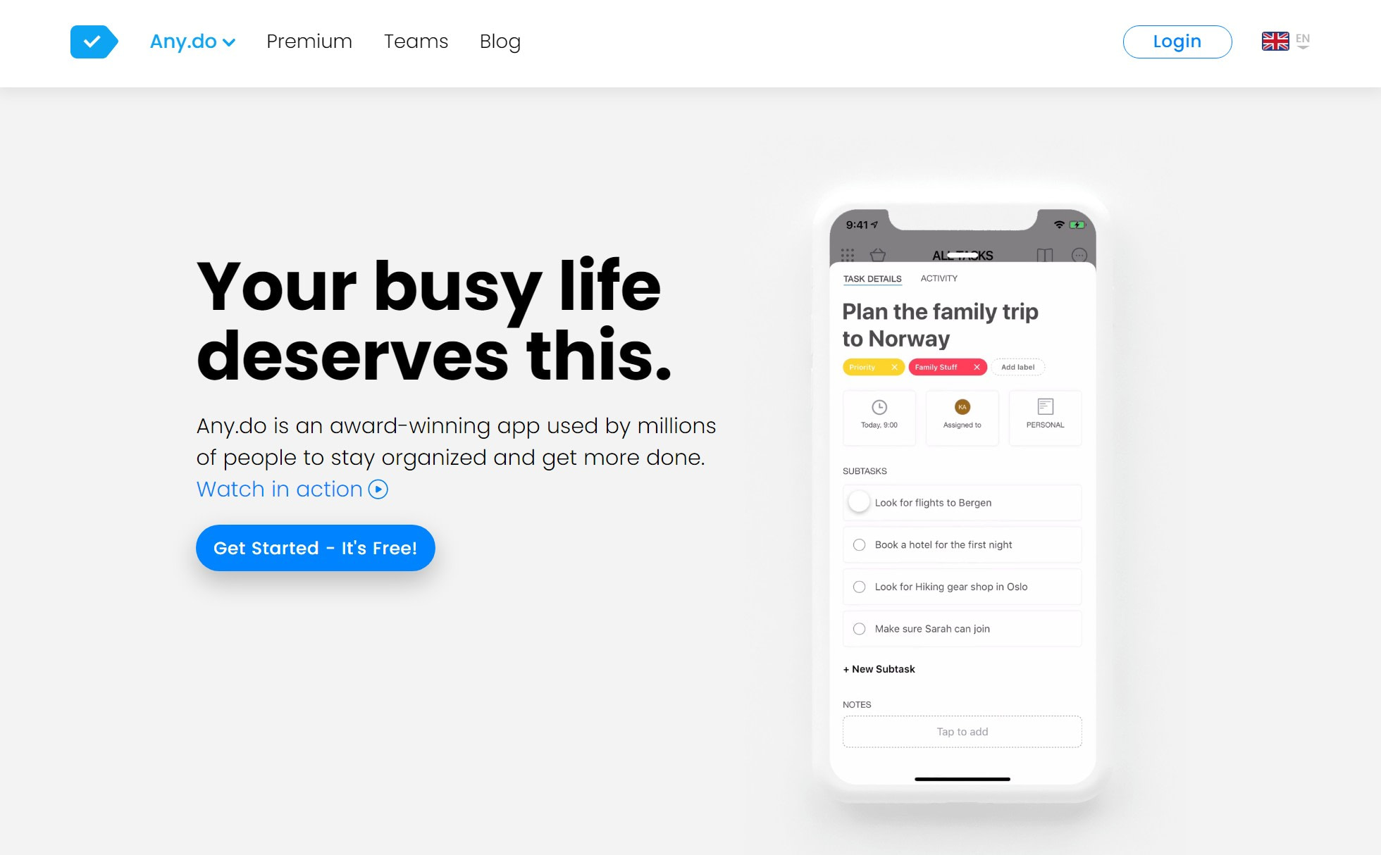 Any.do is the best to do list app with calendar