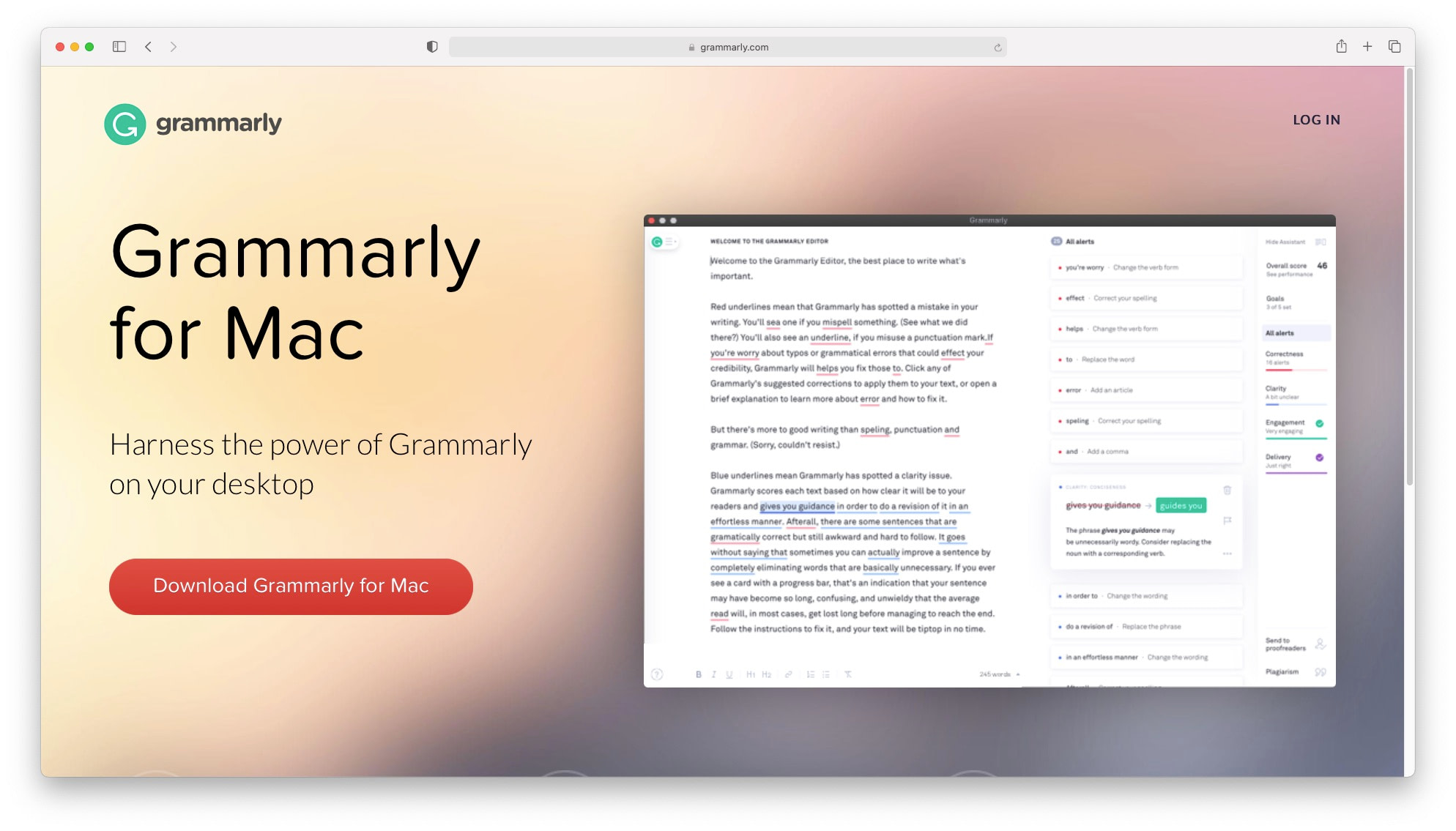 Best productivity apps for mac: Grammarly