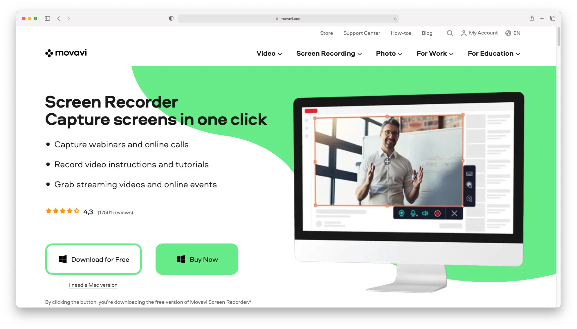 Movavi Screen Recorder - one of the best screen recording software