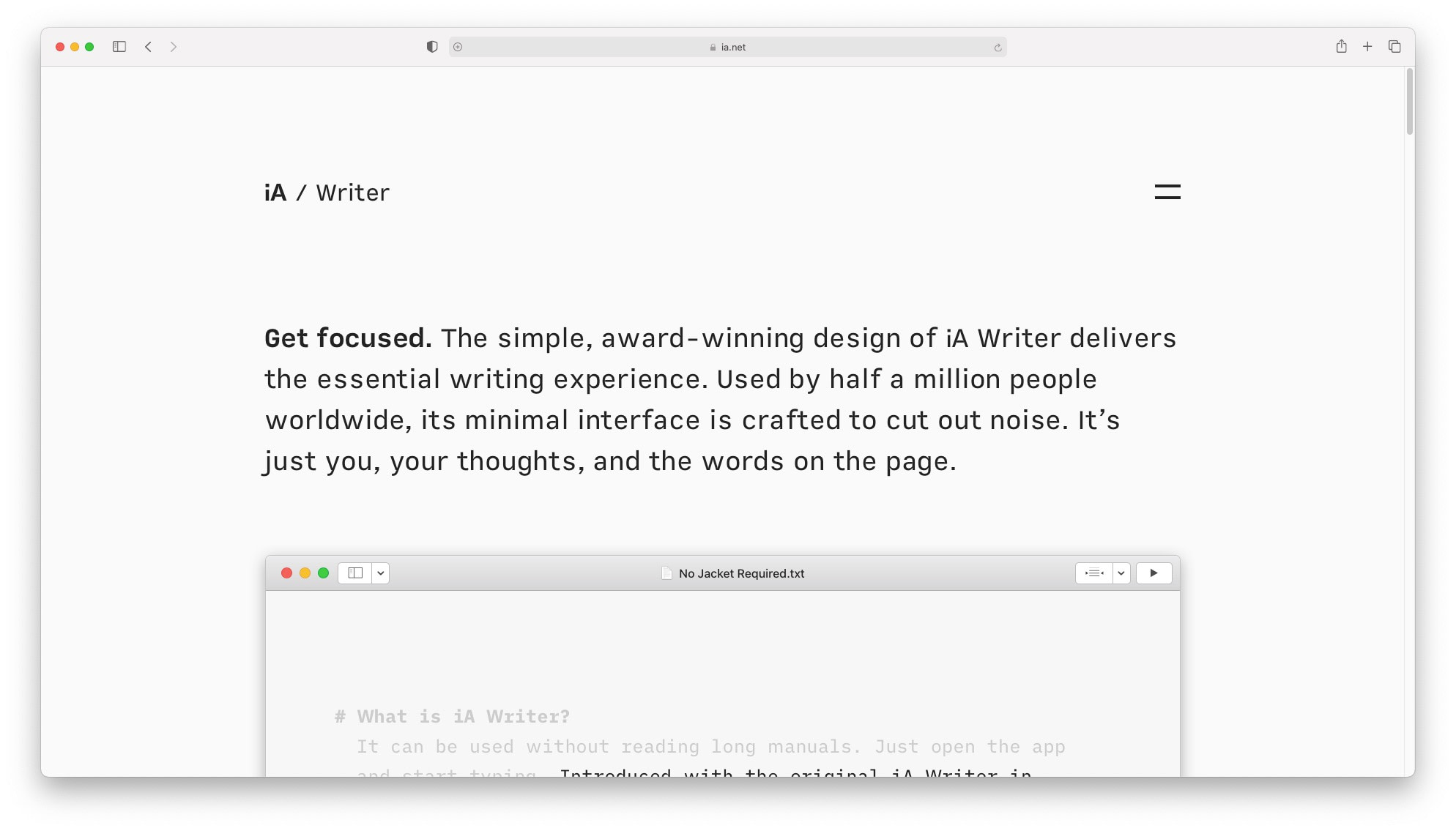 Best productivity apps for mac: iA Writer