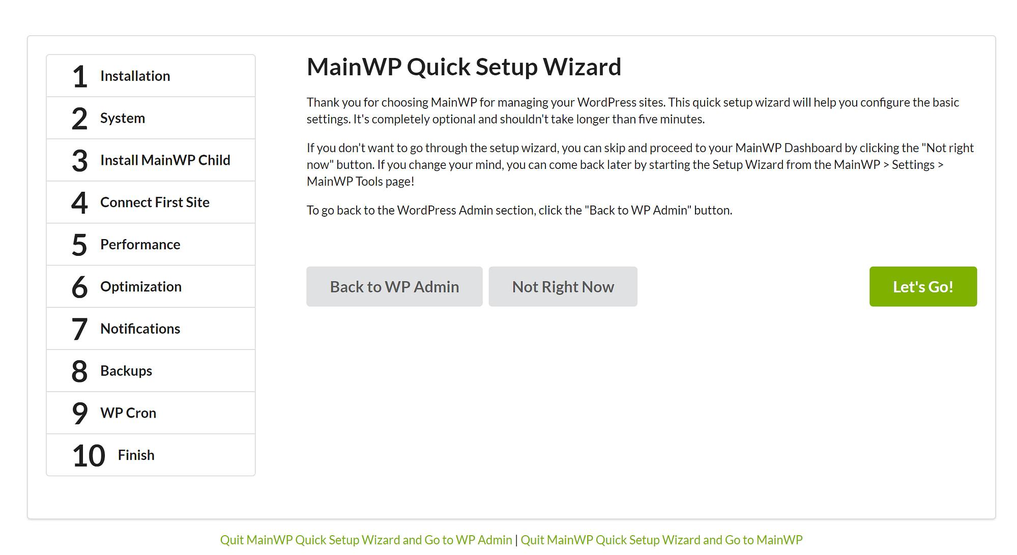 MainWP setup wizard