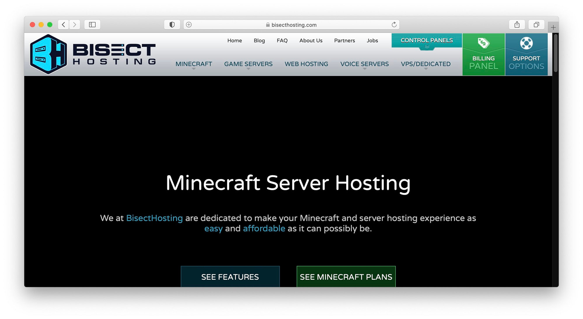 Bisect Hosting Minecraft plans.